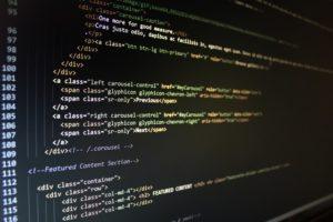 html5 code on a screen